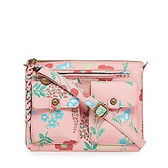 Mantaray - Pink floral three pocket satchel