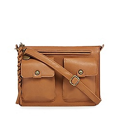 Mantaray - Tan three pocket satchel
