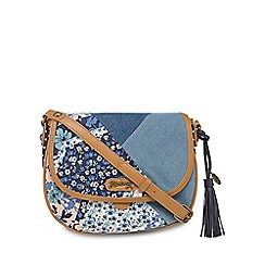 Mantaray - Blue denim patchwork saddle bag