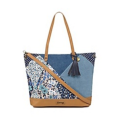 Mantaray - Blue denim patchwork tote bag