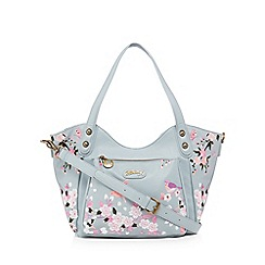 Mantaray - Pale blue butterfly embroidered tote bag