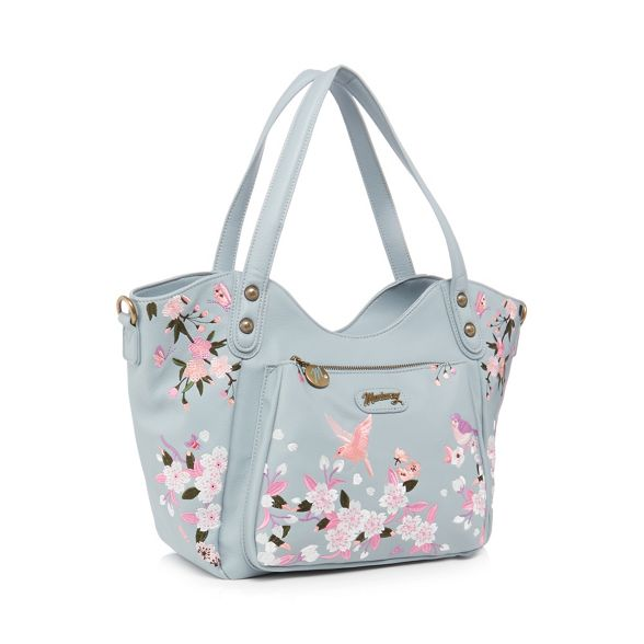 Mantaray butterfly embroidered blue bag tote Pale E4OnrTFE