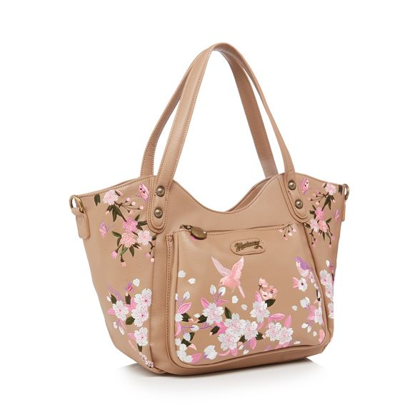 Natural embroidered butterfly Mantaray tote bag dqBXzqwE