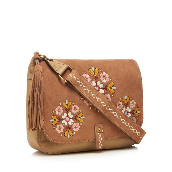 suede bag saddle Taupe embroidered floral Mantaray qWRZ47x