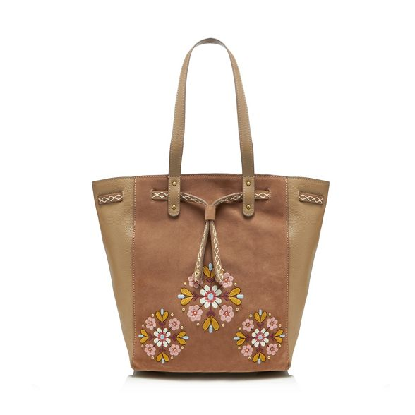 bag shopper floral embroidered leather Natural Mantaray EqwIgn7Xn