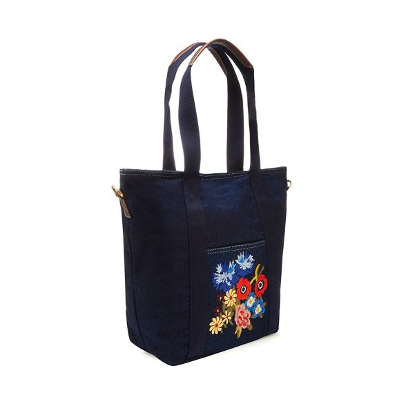 floral Navy denim embroidered bag shopper Mantaray dqt5at