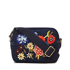 Mantaray - Navy floral embroidered denim cross body bag