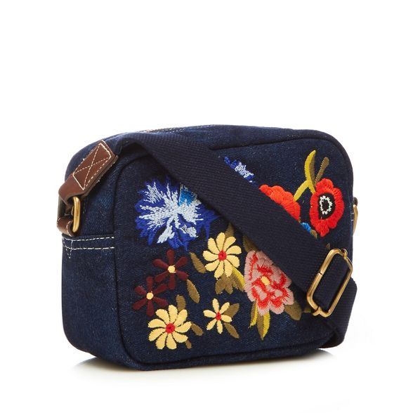 cross embroidered body Mantaray Navy denim bag floral 48n4Aq1