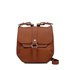Radley Small Light Tan Leather Trinity Square Flapover Crossbody Bag