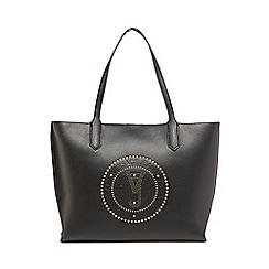 Versace Jeans - Black logo studded shopper bag