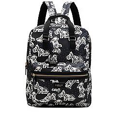Radley - Large black 'Folk Dog' zip top backpack