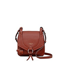 Radley - Small red leather 'Sunray Gardens' flapover saddle bag
