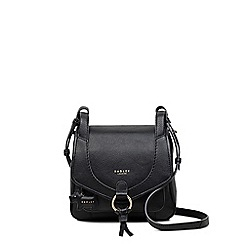 Radley - Small black leather 'Sunray Gardens' flapover saddle bag