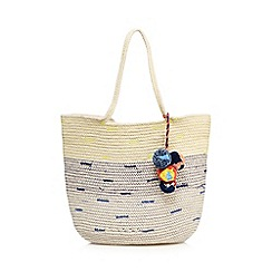 Nine by Savannah Miller - Navy straw shopper bag