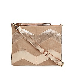 Nine by Savannah Miller - Light pink suede chevron cross body bag