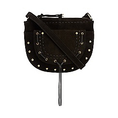 Nine by Savannah Miller - Black suede half moon cross body bag