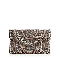 Nine by Savannah Miller - Bronze oval bead embellished clutch bag