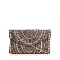 Nine By Savannah Miller Bronze Oval Bead Embellished Clutch Bag