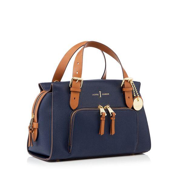 Jasper by J leather 'Holland Park' Navy faux grab bag Conran 45OHqOdw