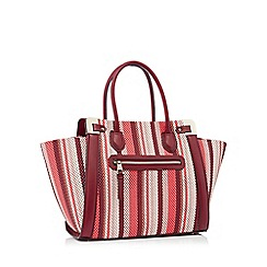 J by Jasper Conran - Wine red woven stripe faux leather 'Aurelia' tote bag