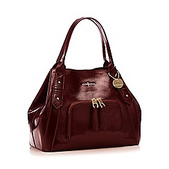 J by Jasper Conran - Wine red crinkle patent 'Esher' hobo bag