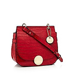 J by Jasper Conran - Red faux leather croc effect 'Greenwich' cross body bag