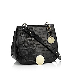 J by Jasper Conran - Black faux leather croc effect 'Greenwich' cross body bag