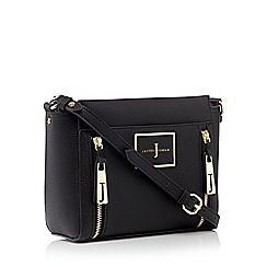 J by Jasper Conran - Black faux leather double zip cross body bag
