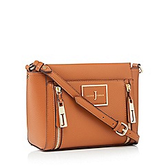 J by Jasper Conran - Tan faux leather double zip cross body bag