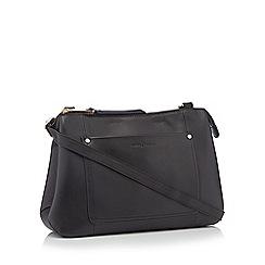 J by Jasper Conran - Black front pocket leather cross body bag