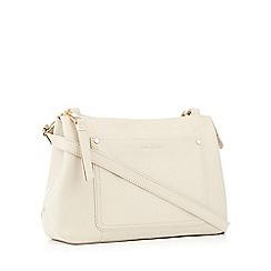 J By Jasper Conran Cream Front Pocket Leather Cross Body Bag