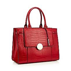 J by Jasper Conran - Red croc effect faux leather 'Greenwich' grab bag