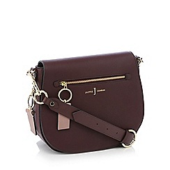 J by Jasper Conran - Wine red 'Richmond' front zip detail saddle bag