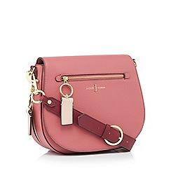 J by Jasper Conran - Dark pink faux leather zip front 'Richmond' saddle bag