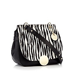 J by Jasper Conran - Black and white zebra print 'Greenwich' cross body bag