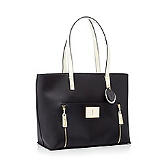 J by Jasper Conran - Black faux leather double zip shopper bag