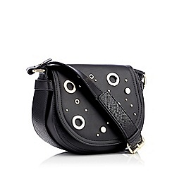 Star by Julien Macdonald - Black eyelet stud faux leather saddle cross body bag