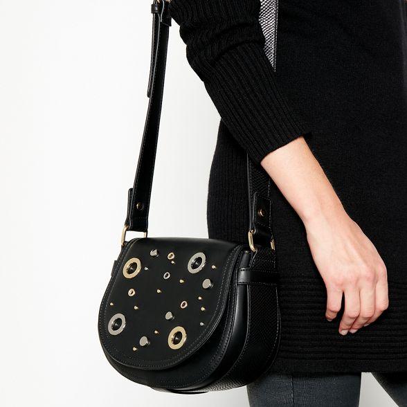 bag body by Star faux Macdonald saddle leather Black cross eyelet stud Julien PgaZaxvw