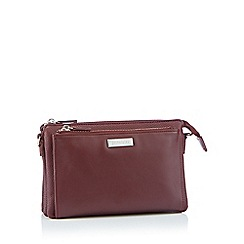 Principles - Wine faux leather double zip cross body bag
