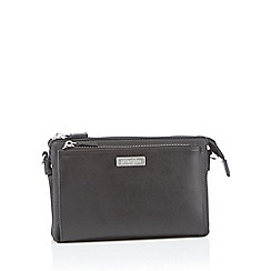 Principles - Black faux leather double zip cross body bag