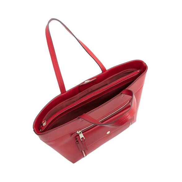 shopper front Red zip bag pocket Principles grained XFqUWB