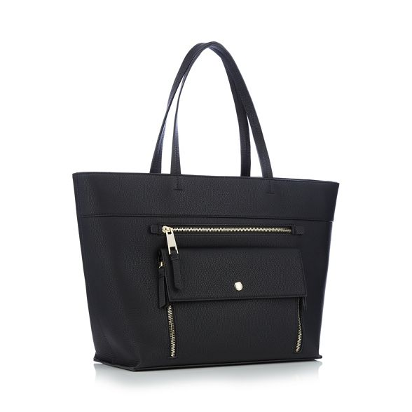 bag grained zip Principles pocket shopper front Black 4gfwRY