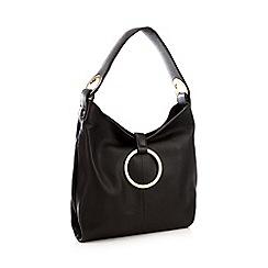 John Rocha Black Ring Leather Hobo Bag
