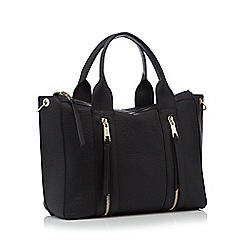Nine by Savannah Miller - Black double zip faux leather 'Lou' large grab bag