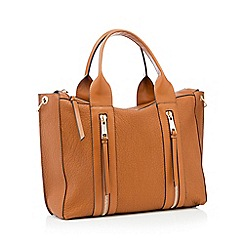 Nine by Savannah Miller - Tan double zip faux leather 'Lou' large grab bag