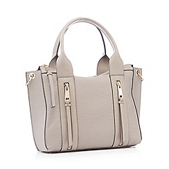 Nine by Savannah Miller - Grey double zip faux leather  Lou  small grab bag 29d09cede9f35