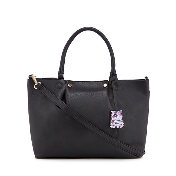 Collection floral The bag lined Black grab 8qwqxvPT