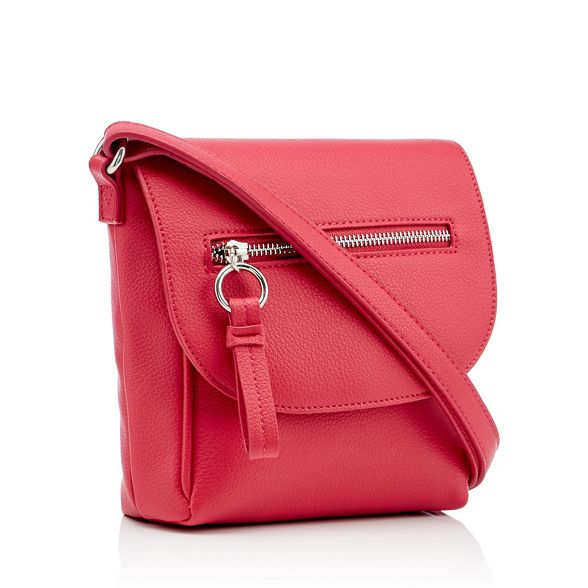 faux Dark The bag front zip leather Collection pink cross body wXXqgrSa