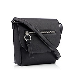 The Collection - Black zip front faux leather cross body bag