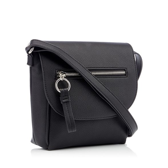 body cross Black Collection faux zip bag The leather front B0Ranqw